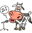 singing cow cartoon vector image vector image