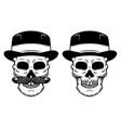 skull in vintage gentleman hat design element vector image
