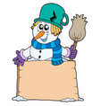 snowman with sign and broom vector image vector image