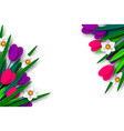 spring floral composition with paper cut flowers vector image