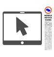 tablet arrow pointer icon with set vector image vector image