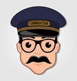 train conductor cartoon face with glasses vector image vector image