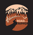 vintage adventure road tripper mountain and vector image vector image