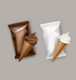 white chocolate ice cream waffle cone wrapper vector image vector image