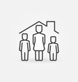 woman with two child under house rolinear vector image