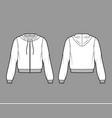 zip-up cotton-fleece hoodie technical fashion vector image vector image