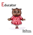 Alphabet professions Owl Educator character on a vector image