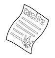 Marijuana recipe icon outline style vector image