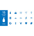 15 hand icons vector image vector image