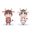 a cute cartoon couple cow and bull in flowers vector image vector image