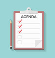 agenda on clipboard vector image
