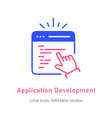 application development icon on white background vector image vector image