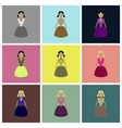 assembly flat icons toy doll vector image vector image