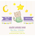 Baby Cat Sleeping on a Star - Baby Shower Card vector image vector image