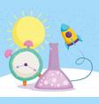 back to school chemistry flask clock creativity vector image vector image