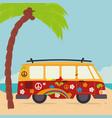 beach landscape with van vehicle scene vector image vector image