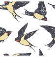 birds flying swallow hand drawing seamless pattern vector image