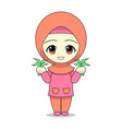 cartoons muslim women farming daily fun vector image vector image