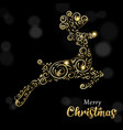 christmas card luxury gold and black reindeer vector image