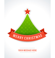 Christmas green tree and ribbon background vector image vector image
