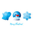 christmas icon set cartoon snowflake snowglobe vector image