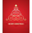 Christmas tree from flourishes calligraphic backgr vector image vector image