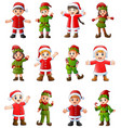 collection of cartoon santa claus kids and elves i vector image vector image