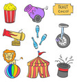 colorful circus element of doodle style vector image vector image