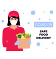 covid19-19 coronavirus epidemic safe food delivery vector image vector image