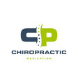 cp letter chiropractic logo icon vector image vector image