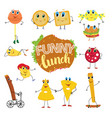 cute cartoon fast food characters vector image vector image