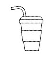 disposable paper cup soda with straw cap cold vector image