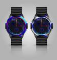 dual metallic men wrist watch vector image vector image