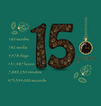floral card with number fifteen and pocket watch vector image vector image