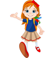 Girl go to school vector image