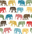 Grunge retro seamless with elephants silhouettes vector image