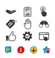 hand icons like thumb up and click here symbols vector image