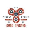 hand spinner emblem vector image vector image