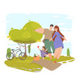 happy family gesturing with smile on park nature vector image