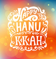 Happy Hanukkah logotype badge and icon typography vector image