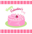 happy valentines day cake with strawberries vector image vector image