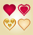 Hearts of various shapes set vintage vector image