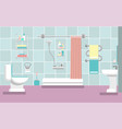 interior of the bathroom with a shower in the vector image vector image