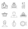 little wife icons set outline style vector image
