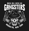 mafia emblem with gangster skull in fedora hat vector image