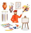 man artist palette paint brushes stand vase vector image vector image