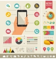 mobile phone with icons - infographic and website vector image vector image
