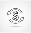 money exchange flat line trendy black icon eps10 vector image