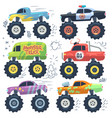 monster cars cartoon cars with big wheels vector image