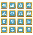 nature icons set sapphirine square vector image vector image